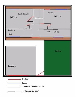 Casa 2 Quartos (1 Suíte), Sala, Banheiro, Cozinha, Garagem,