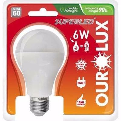 Kit 10 Lampada Led Ourolux 6w Bivolt E27 Luz Branca 6400k