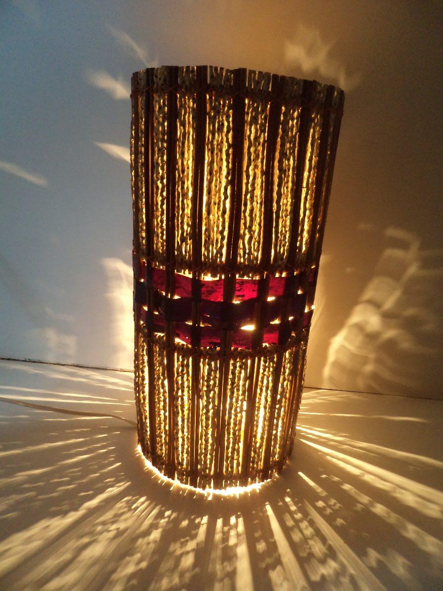 Aparador Vidro ~ Abajur Tubo Açaí, Luminaria Rustica Artesanal Pico Das Artes R$ 60,00 em Mercado Livre