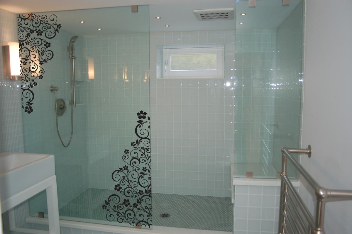 Imagens de #886844 Adesivo Box Banheiro Floral Parede Blindex R$ 94 15 em Mercado Livre 1200x798 px 3484 Blindex Para Banheiro Rj