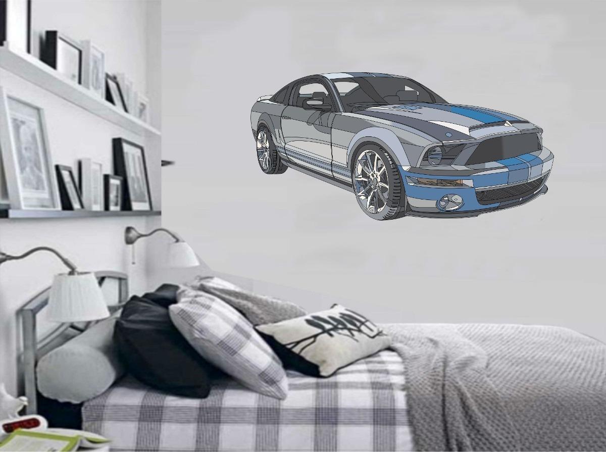 Adesivo De Parede Quarto Carro Rodas Rebaixado Mustang R  ~ Adesivo De Parede Quarto Infantil Carros