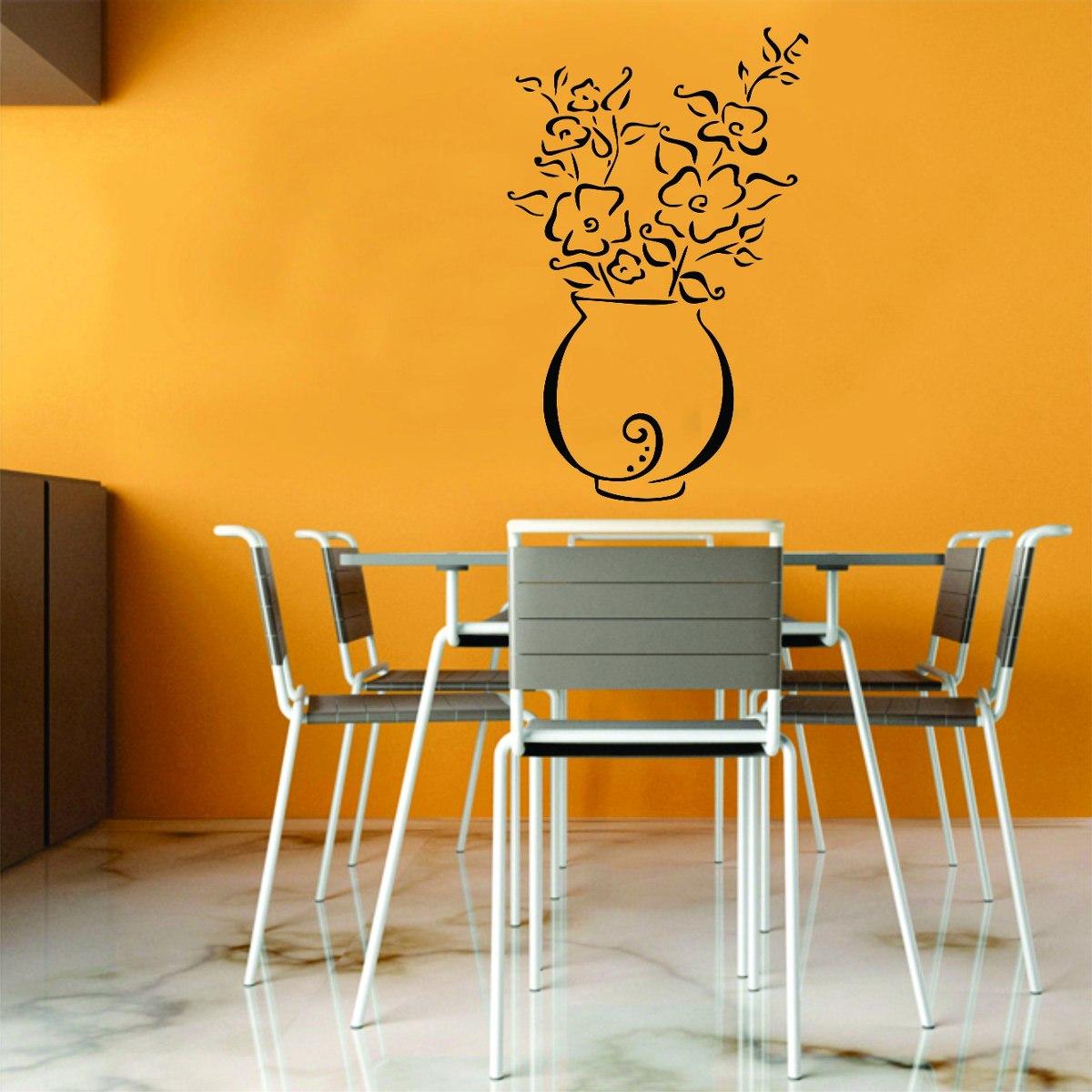 Artesanato Com Tecido E Cola ~ Adesivo Decorativo Parede Sala Cozinha Floral Vaso De Flor R$ 17,99 em Mercado Livre
