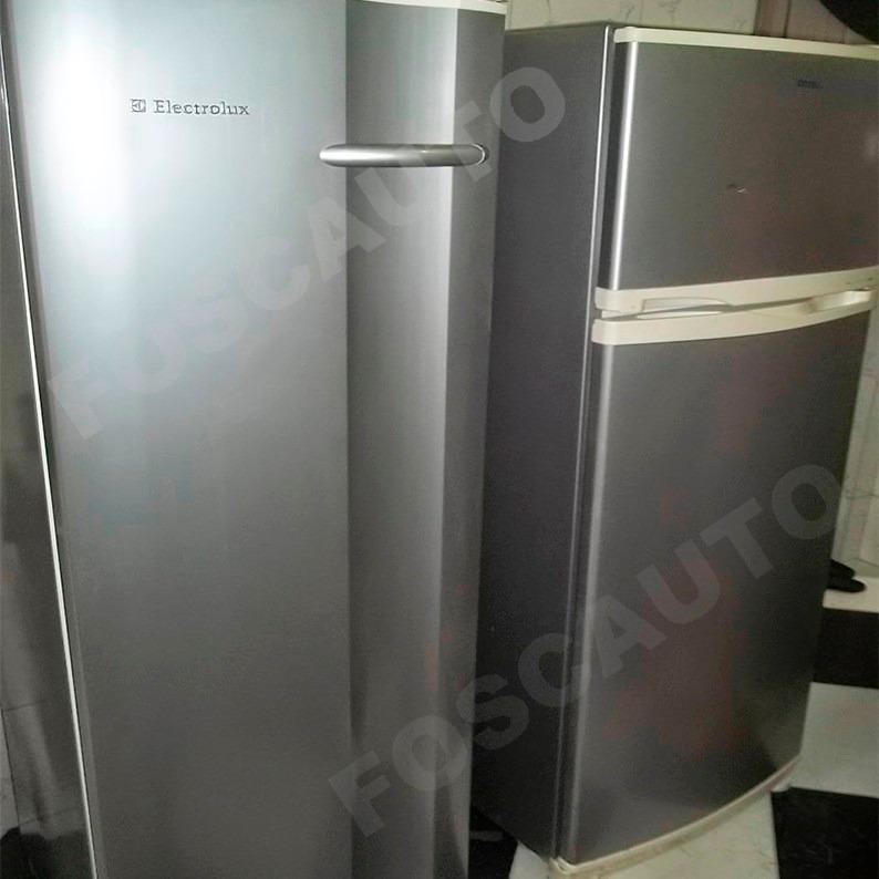 Armario Baixo Com Chave ~ Adesivo Envelopamento Geladeira Prata Tipo Inox Frete Grátis R$ 89,90 em Mercado Livre