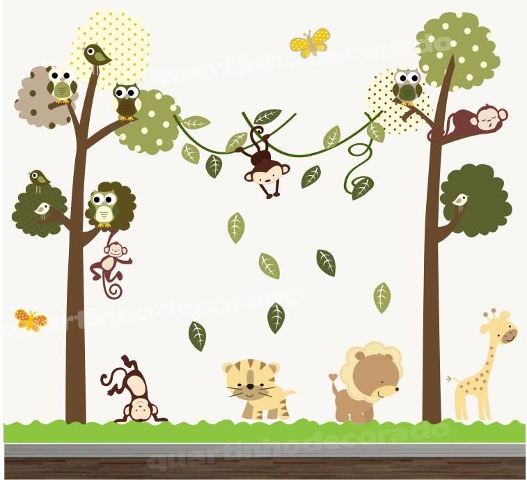 Aparador Estreito Para Sala ~ Adesivo Quarto Infantil Papel Parede Arvore Animais Zoo