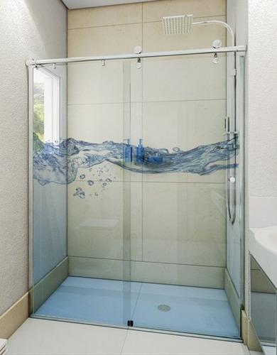 Adesivo Transparente Decorativo Para Box Banheiro E Vidro  R$ 50,00 em Merca -> Box De Banheiro Com Pastilha De Vidro