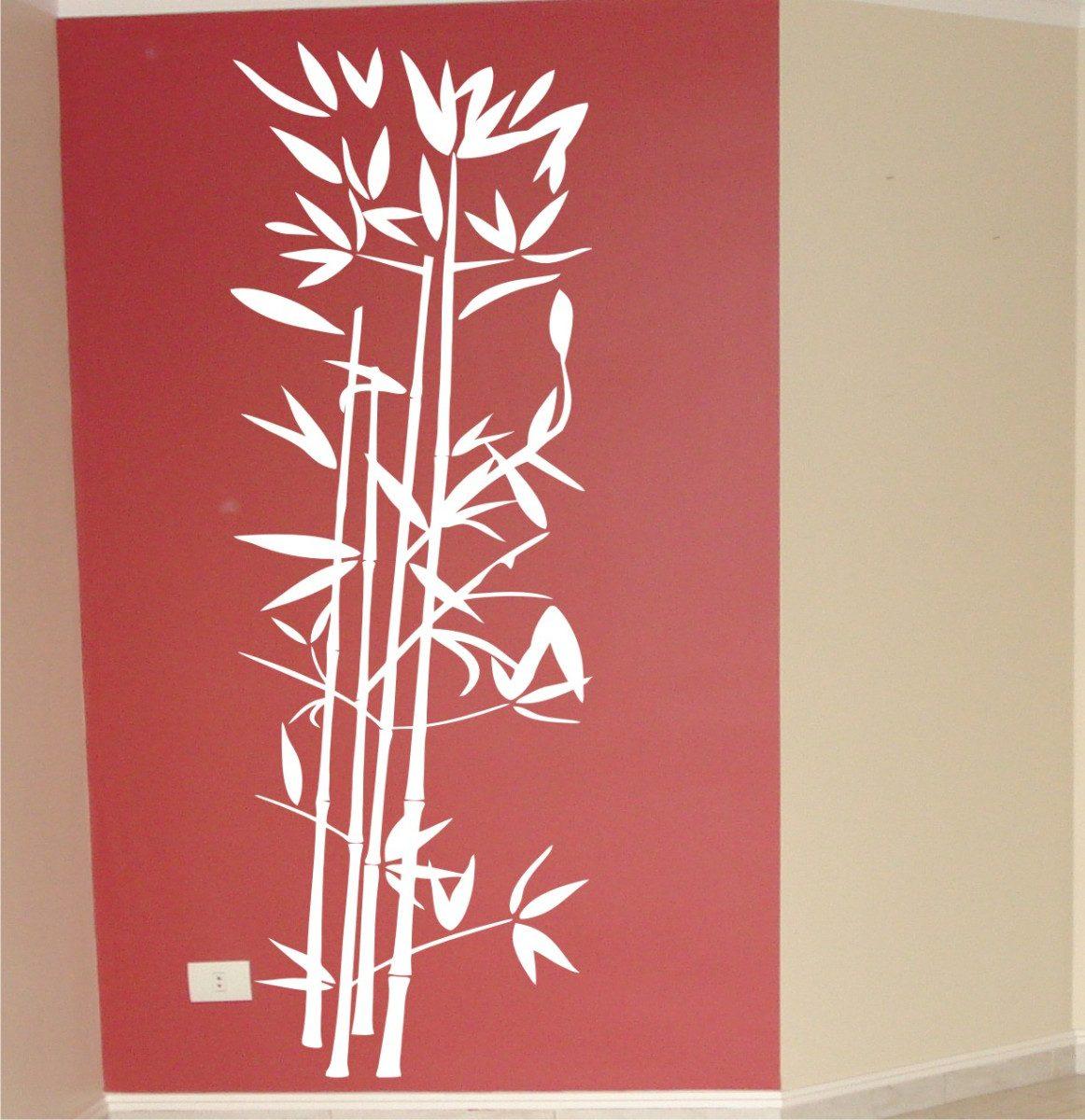 Aparador De Livros Em Ingles ~ Adesivos Decorativos De Parede Bambu Oriental Bamboo Chin u00eas R$ 34,67 em Mercado Livre