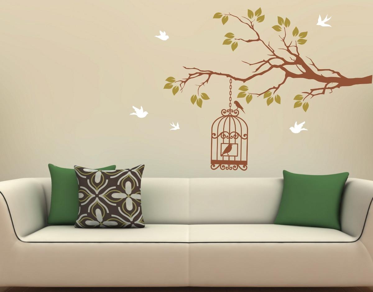 Aparador De Livros Em Ingles ~ Adesivos Decorativos Parede Galhos PássarosÁrvores Gaiola R$ 68,90 em Mercado Livre