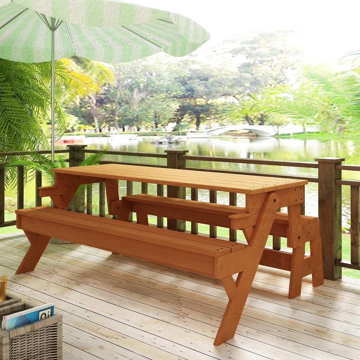 banco de jardim mesa:Banco De Jardim Vira Mesa – R$ 1.205,20 em Mercado Livre