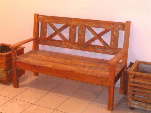 banco de madeira maciça de demolição