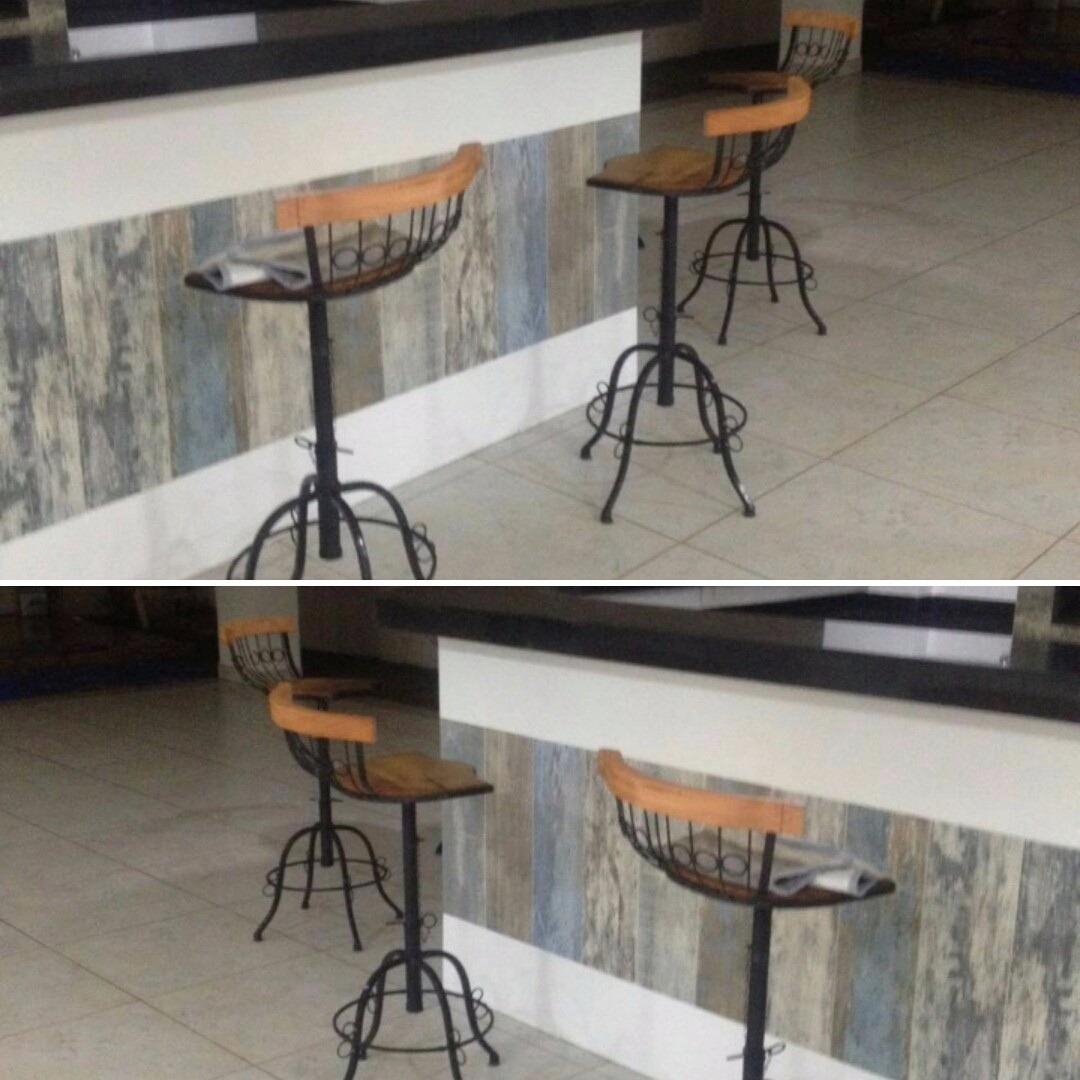 Banquetas De Ferro E Madeira De Demolição Bistrô R$ 131 99 em  #905F3B 1080x1080