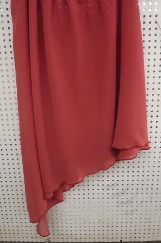 blusa de alças finas musseline cor goiaba forro cetim rosa