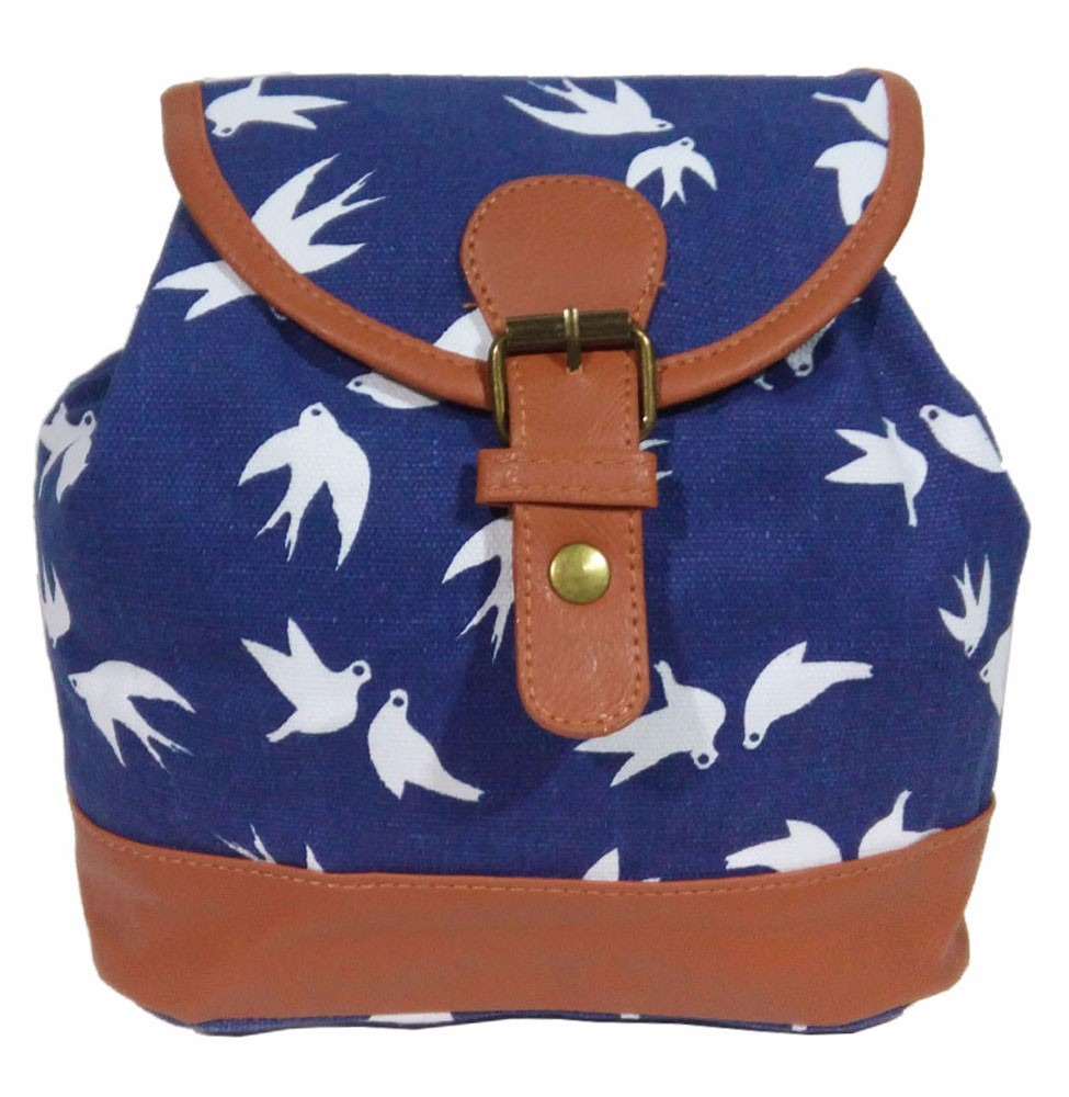 Bolsa Feminina Costas : Bolsa mochila feminina p?ssaros azul lona al?a para costas