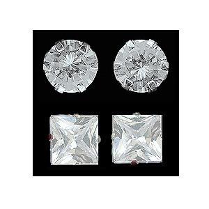 brincos masculinos - prata 950 redondos ou quadrados - 8 mm