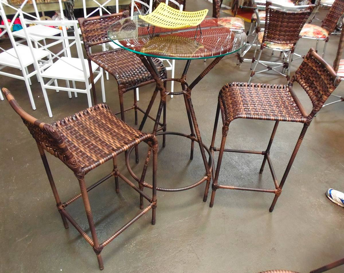Conjunto De Mesa Bistrô Com 4 Cadeiras Varanda Junco Rattan R$ 1  #227471 1200x953