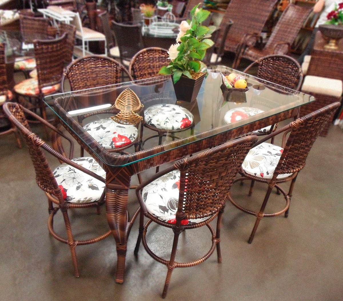 Conjunto de mesa de jantar e 6 cadeiras rattan varanda junco r em mercado livre - Mesas de rattan ...