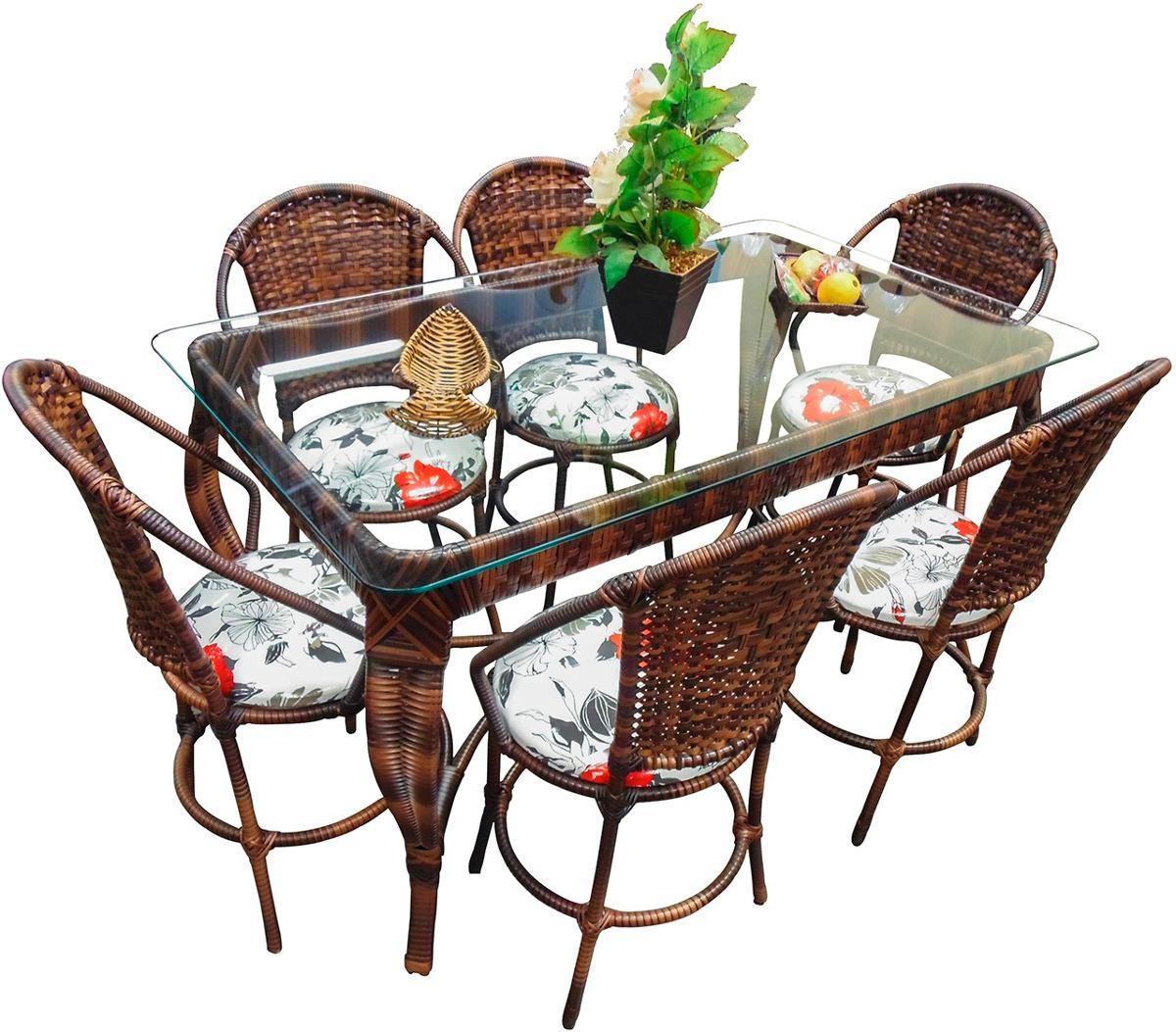 Conjunto De Mesa De Jantar E 6 Cadeiras Rattan Varanda Junco R$ 2  #2E7C1E 1200x1053