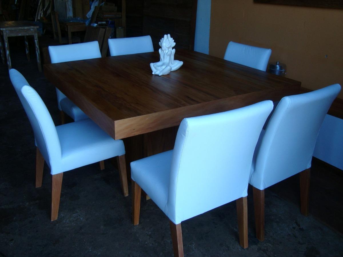 Conjunto De Mesa De Madeira E 6 Cadeiras Estofadas R$ 5.773 00 em  #02A6C9 1200x900