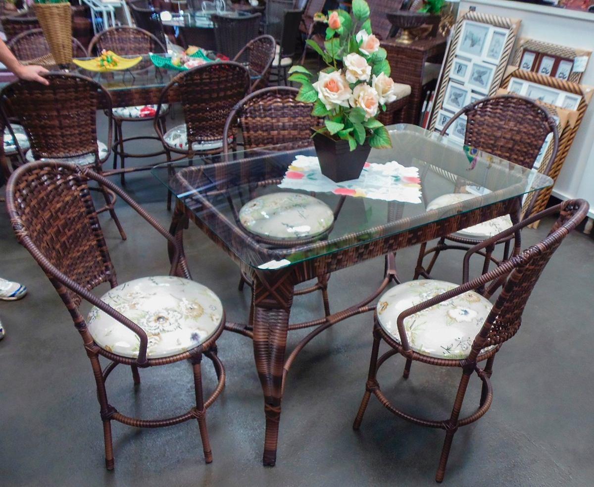 Conjunto de mesa retangular e 4 cadeiras rattan ferro junco r em mercado livre - Mesas de rattan ...