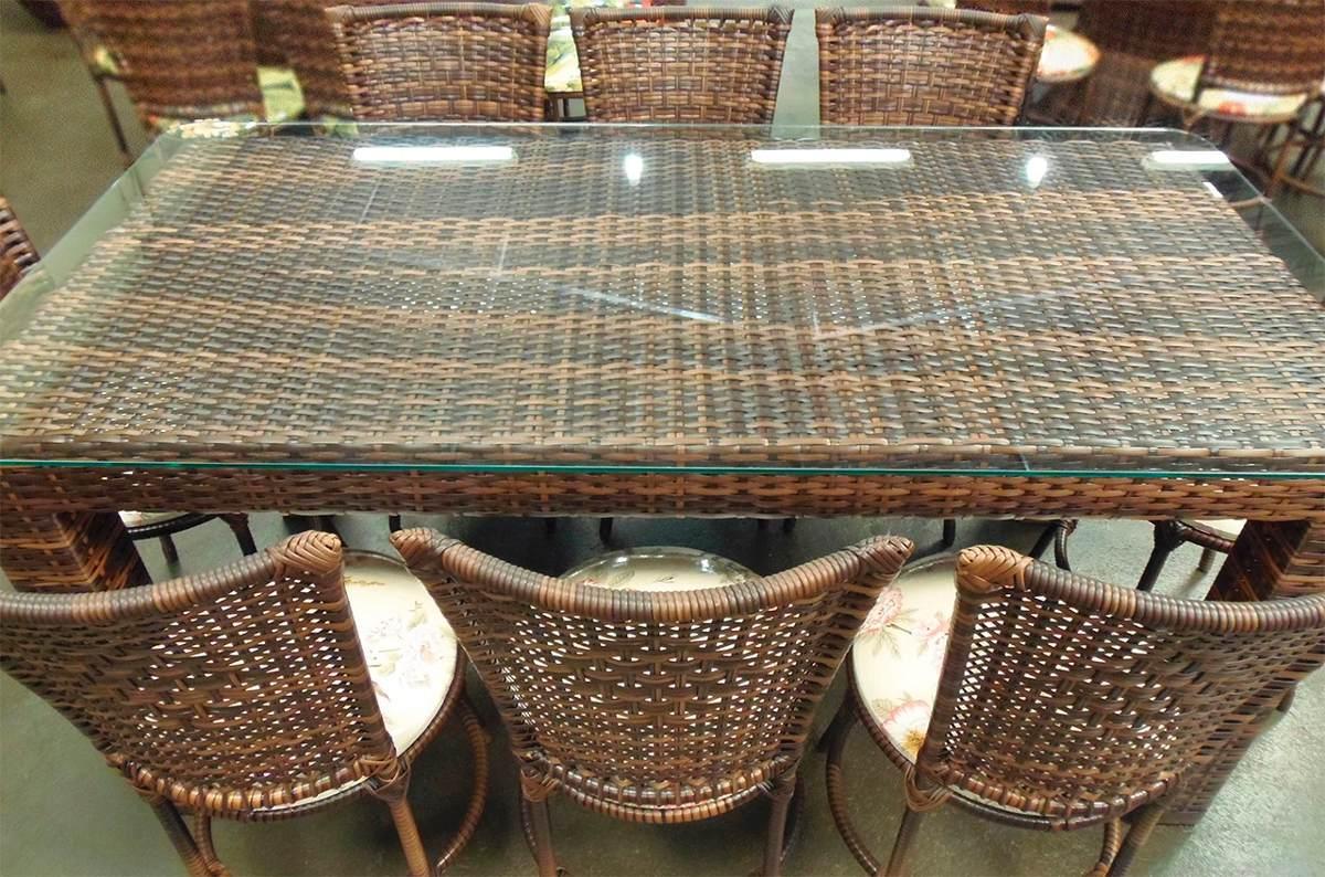 Conjunto de mesa retangular e 8 cadeiras junco ferro - Mesas de rattan ...