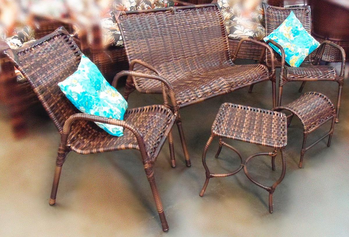 Conjunto junco de cadeiras namoradeira e mesa rattan for Conjunto rattan barato