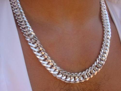 corrente de prata maciça 950. 200gms. jóias originais!!!