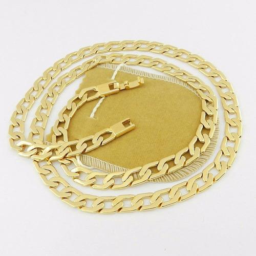 corrente masculina 60cm 8mm largura folheada ouro cr351