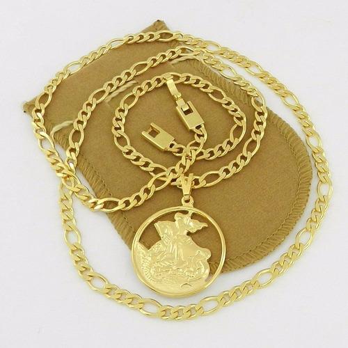 corrente masculina 60cm são jorge 3cm folheado ouro cr123
