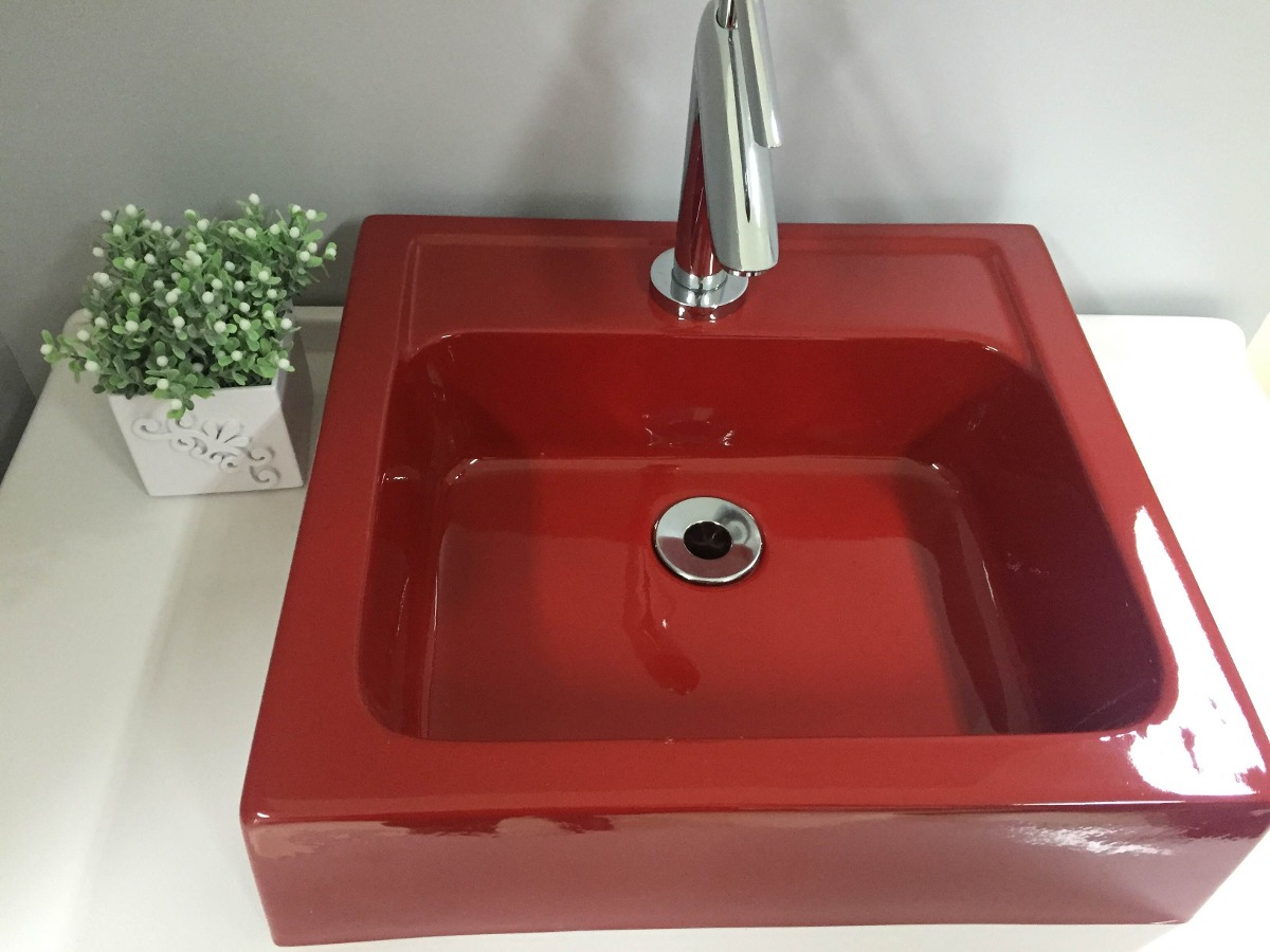 Cuba De Apoio Para Banheiro Quadrada Gênova Vermelho  R$ 128,99 em Mercado -> Cuba De Apoio Para Banheiro Quadrada