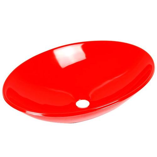 Cuba  Pia De Apoio Oval 50 Cm Para Banheiro  Vermelha  R$ 259,00 em Mercad -> Pia De Banheiro Vermelha