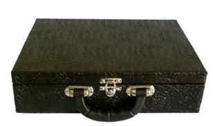 estojo maleta porta jóias, grande de luxo couro sintético