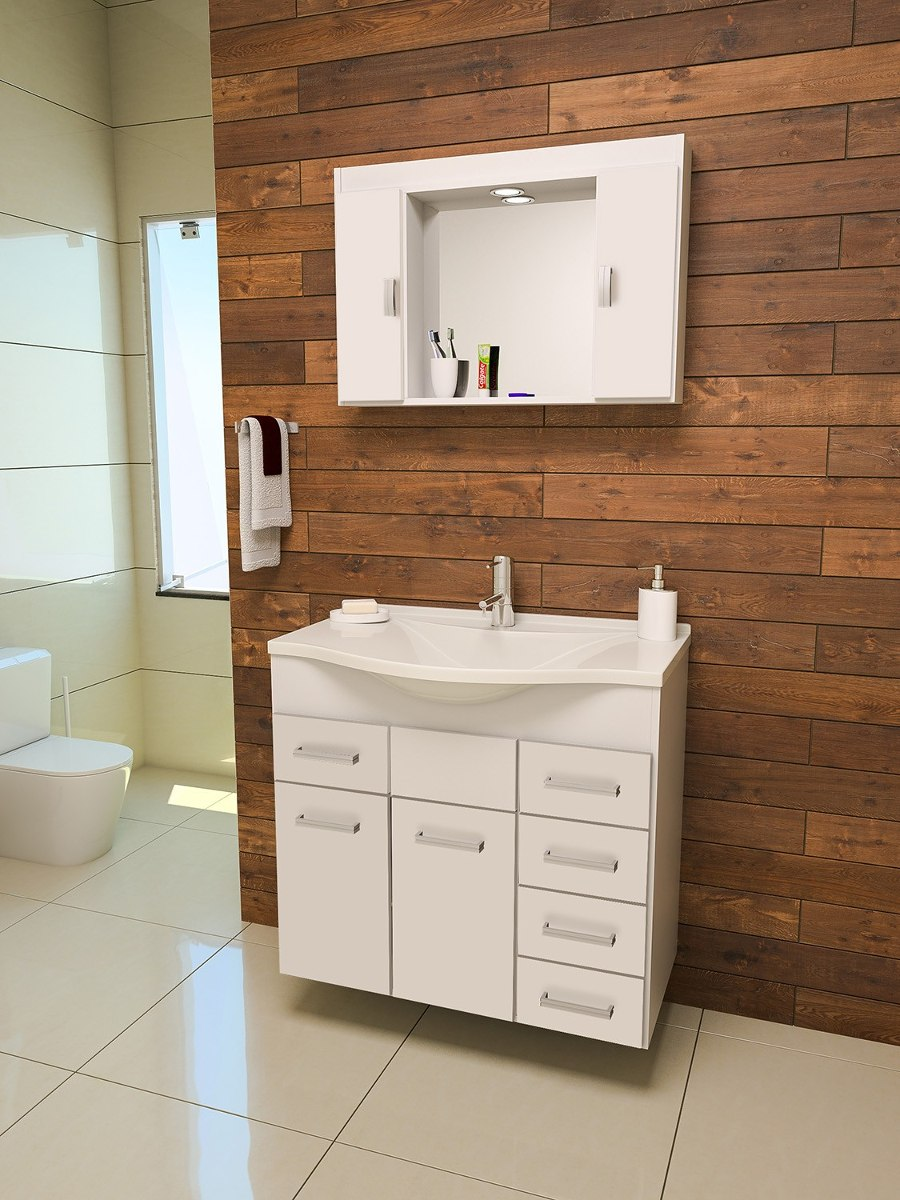 Gabinete  Armário Banheiro Roma  R$ 599,90 em Mercado Livre -> Armario Para Banheiro Telhanorte