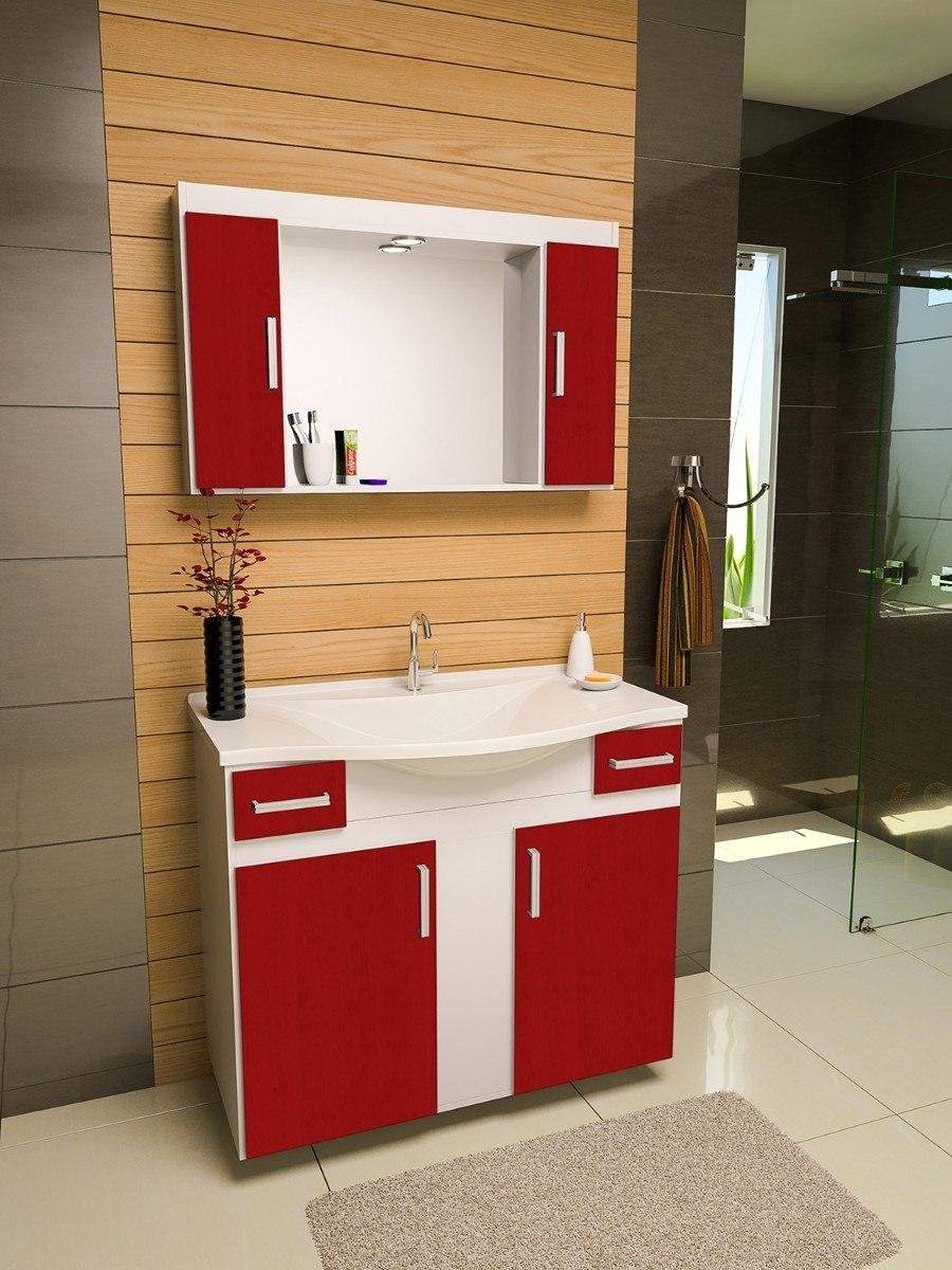 Gabinete  Armário Banheiro San Marino  R$ 669,90 em Mercado Livre -> Decoracao De Banheiro Com Cuba Vermelha