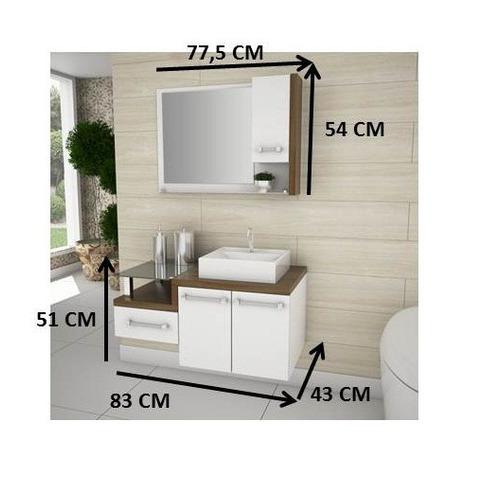Gabinete De Banheiro Completo Legno Branco E Nogal Com Cuba  R$ 699,00 em Me -> Gabinete Para Banheiro Branco Com Cuba