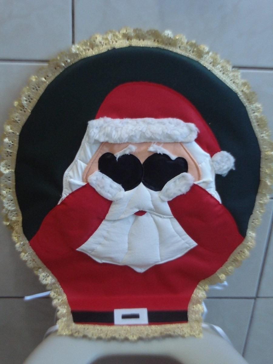 Jogo De Tapetes Banheiro Natal, Papai Noel  R$ 194,50 em Mercado Liv -> Banheiro Decorado Para Natal