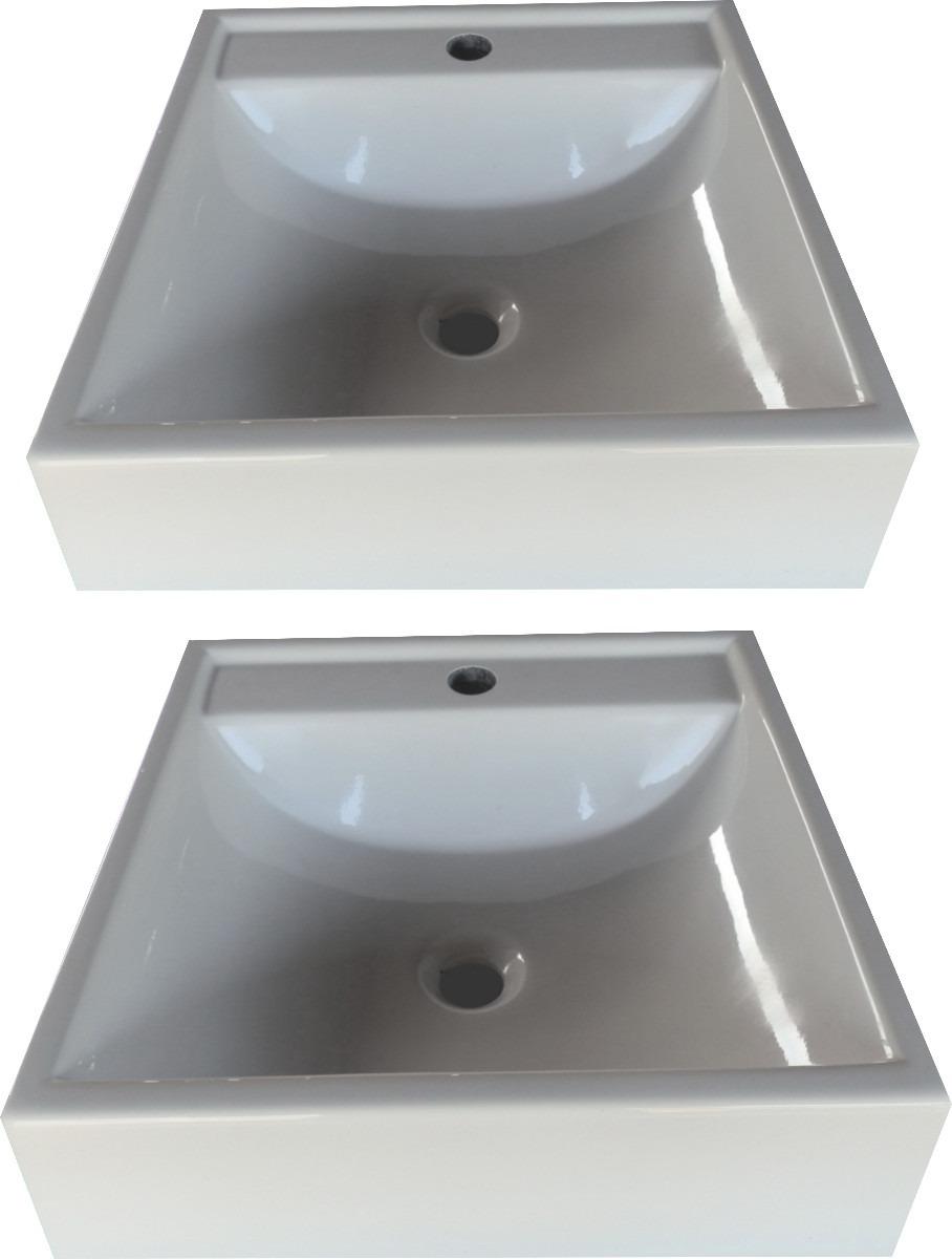 Kit 2 Cuba Sobrepor Para Banheiro Quadrada  R$ 150,00 em Mercado Livre -> Kit Cuba Para Banheiro