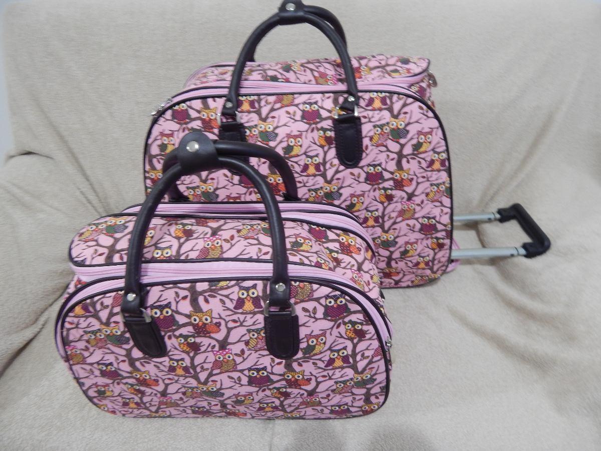 Bolsa De Viagem De Mão Feminina : Kit bolsa de viagem feminina com rodinha corujinha r