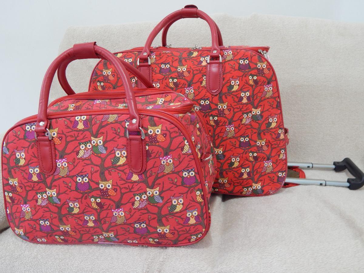 Bolsa Executiva Feminina De Rodinha : Kit bolsa de viagem feminina com rodinha corujinha r