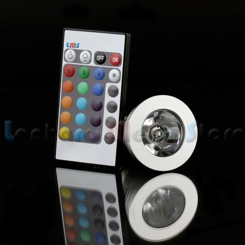 lampada led 3w rgb direcional com controle remoto 24 funções