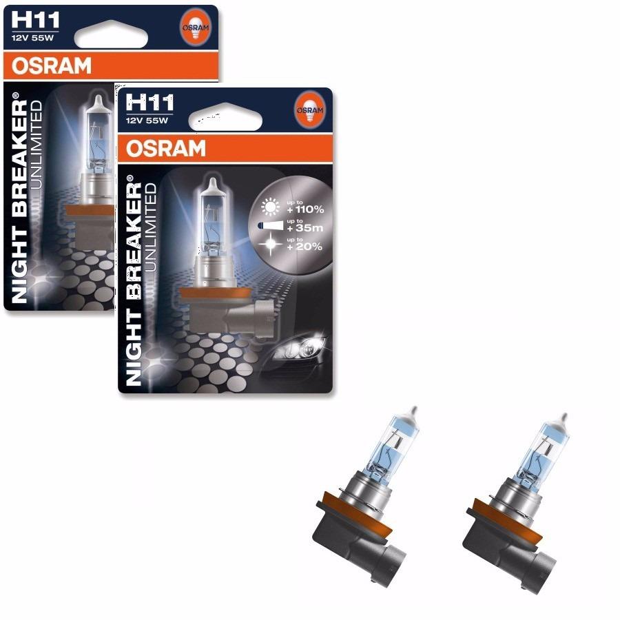 lampada osram night breaker unlimited h11 par farol 110 luz r 185 00 em mercado livre. Black Bedroom Furniture Sets. Home Design Ideas