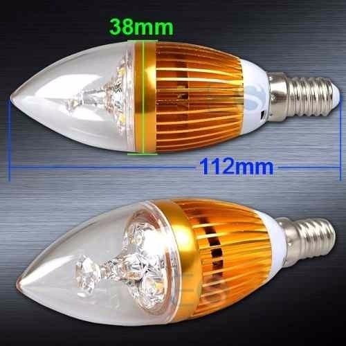 Lampada E12 Led Vela: Lampada Vela Super Led 3w Bivolt E14 Dourada Branco Frio
