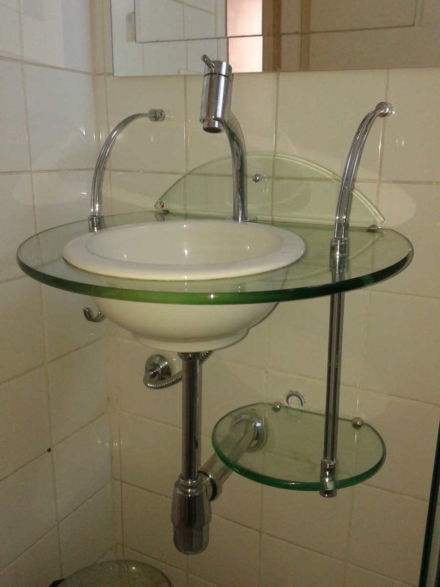 Lavabo Vidro Temperado Cris Metal  Pia De Vidro Banheiro  R$ 260,00 em Mer -> Pia Para Banheiro De Vidro