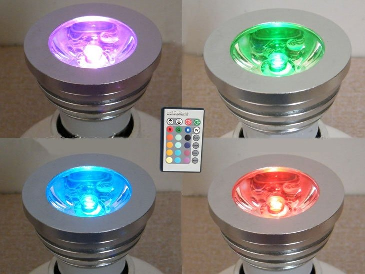 decoracao lampadas led : decoracao lampadas led:Lâmpada Led 3w Colorida Rgb Controle Remoto – Decoração – R$ 34,99