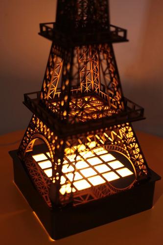 luminária torre eiffel em mdf, corte laser, 60cm