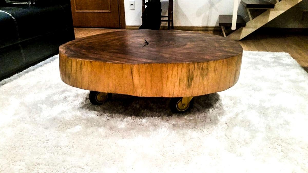 Mesa de centro pe a nica r stico mesa em tronco r for Mesa de tronco