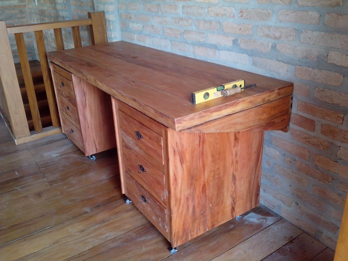 Mesa Escrivaninha E Gaveteiros Com Rodas Madeira Maciça! R$ 1.990  #9F5E2C 1200x900