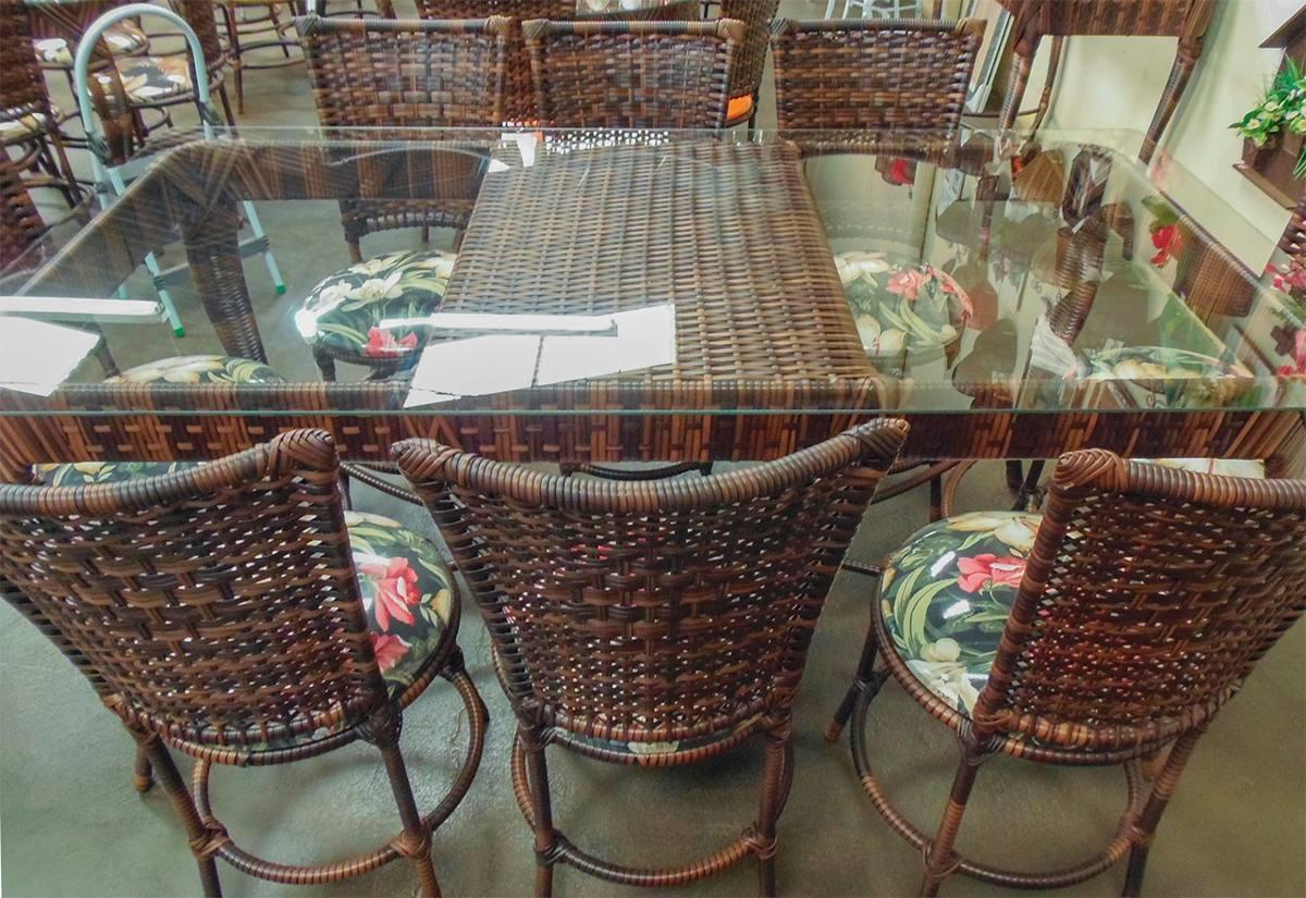 Conjunto de mesa retangular e 8 cadeiras ferro rattan junco r em mercado livre - Mesas de rattan ...