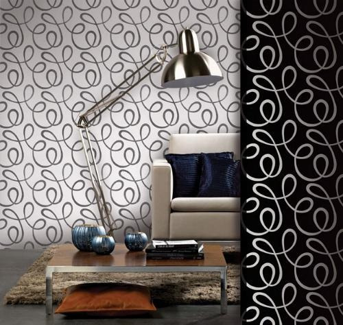 Papel parede galia muresco abstrato preto branco vinilico for Papel decomural muresco