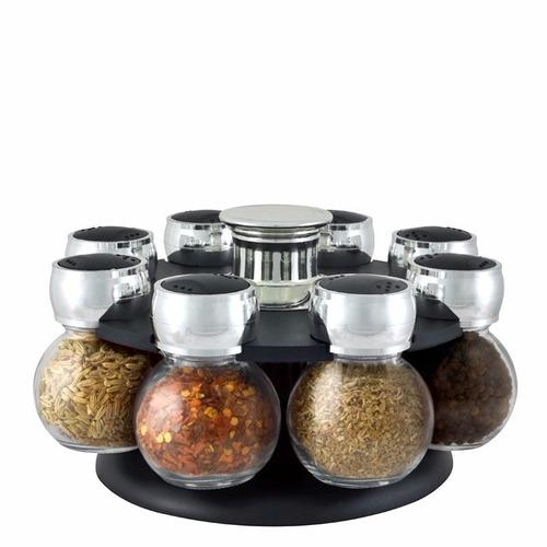 Porta mantimentos com 8 potes de vidro para temperos r for O que e porta condimentos