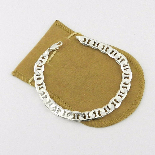 pulseira masculina 19cm 8mm largura folheada prata pl203