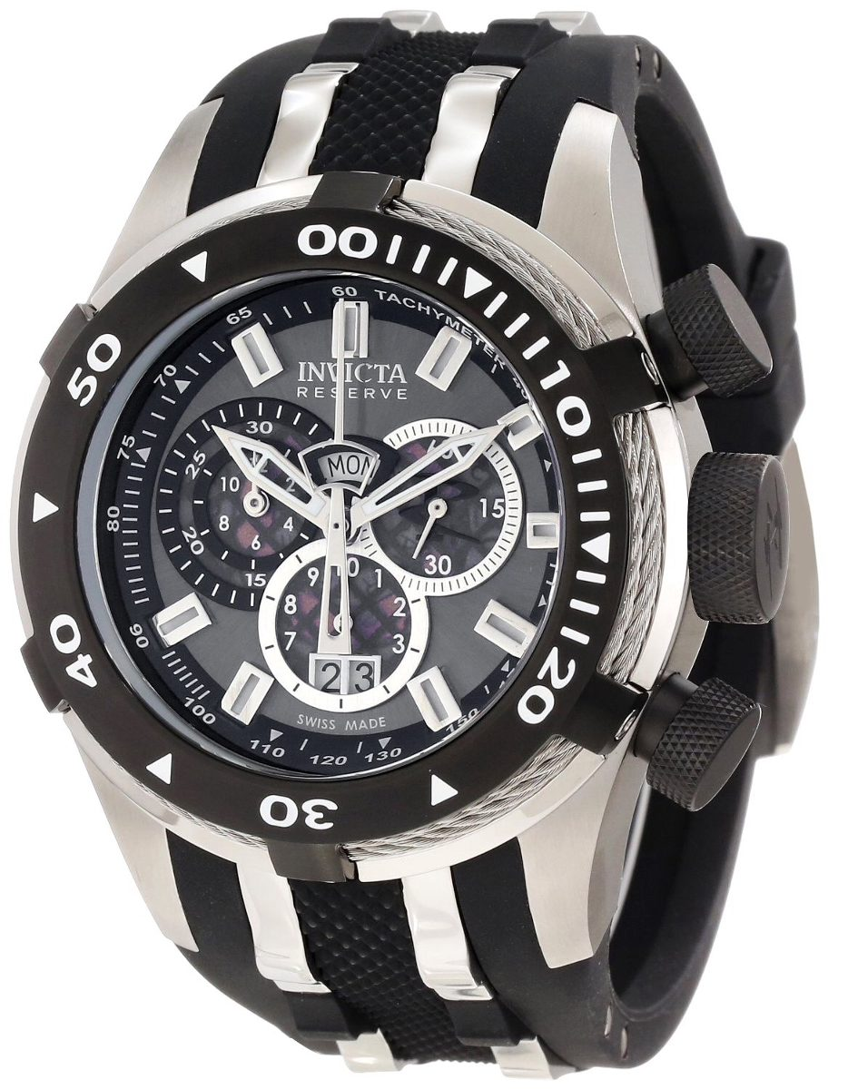Black silicone rubber watch band strap for invicta reserve bolt ebay for Rubber watches